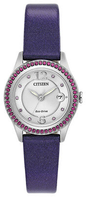Citizen Eco-Drive Women's FE1128-06A Crystal Accent Purple Leather 29mm Watch