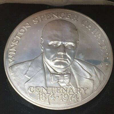 1874-1974 Winston Churchill Centenary Solid Silver Large Medallion 80grams
