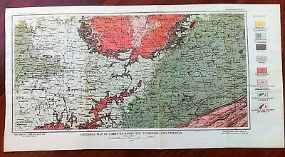 1919 Color Geologic Map KY TN VA Louisville Nashville RR OH and KY Railroad