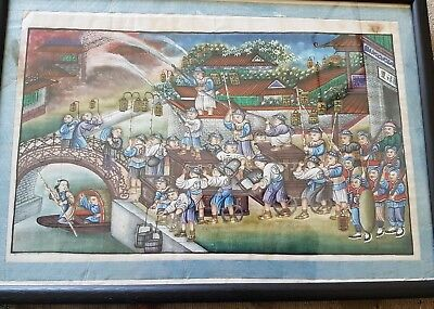 UNUSUAL EARLY 19th CENTURY CHINESE EXPORT PAINTING DEPICTING FIRE SERVICE