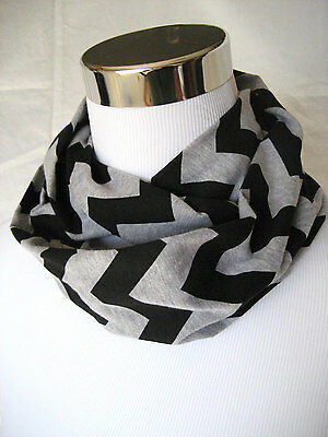 Small Black & Gray Chevron stripe Infinity Scarf Baby Toddler Kid PHOTO PROP