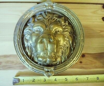 Vintage Heavy Large Brass Lions Head Face Door Knocker estate Mansion Door lion