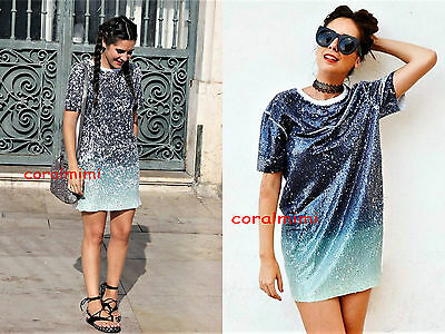 343e6534f BN AMAZING SEQUIN T-shirt Festival Party Dance Rave Dress Black ...