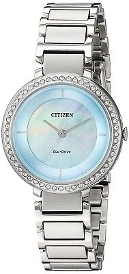 Citizen Eco-Drive Women's EM0480-52N Crystal MOP Dial Silver-Tone 30mm Watch