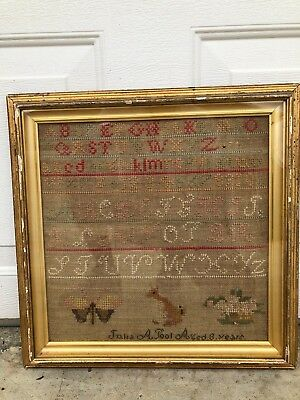 Antique 19th century Original Needlework Butterfly Sampler Julia A Pool
