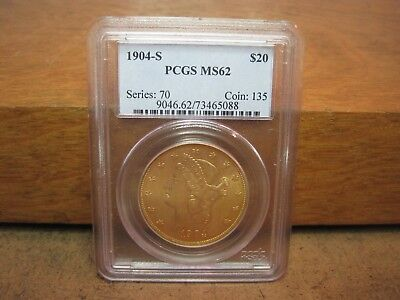 1904 S Double Eagle $ 20 Gold Coin PCGS MS 62