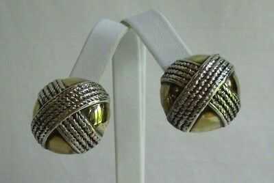 """Vintage Half Dome 925 Silver and Gold Earrings Rope """"X"""" Omega Back 13 Grams"""