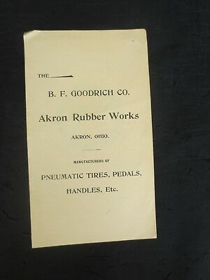 Early 20th Century B.F Goodrich CO Akron Rubber Works Greyhound Tires Price List