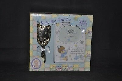 NIB Precious Moments Heavenly Blessing Baby Boy Brush & Frame Gift Set 263753