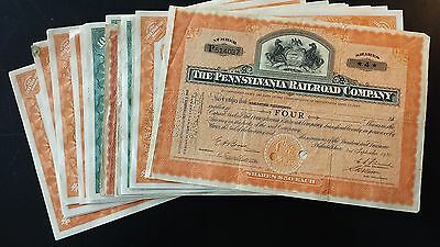 Pennsylvania Railroad Company Stock Certificates - Assorted Lot of 29
