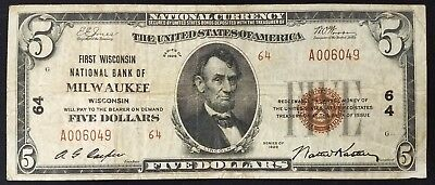 1929 $5.00 Type 2 Nat'l Currency, The First Wisconsin National Bank of Milwaukee