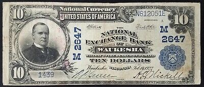 1902 $10.00 National Currency from The National Exchange Bank of Waukesha, WI!