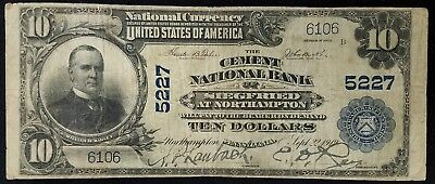 1902 $10.00 National Currency, Cement Nat'l Bank, Siegfried at Nothampton, PA!