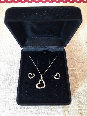 Set Of Silver 925 Heart Shaped Earring And Necklace In A Black Box