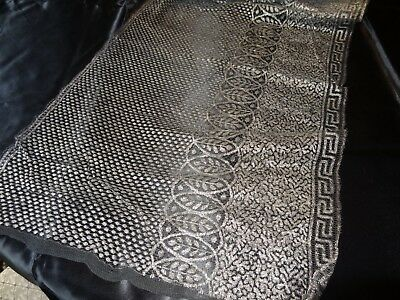 "Antique Vtg. Silver/black Lacy Metallic Trim (14"" X 280"" )"