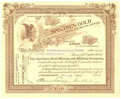 Specimen Gold Mining and Milling Company. Stock Certificate. Cripple Creek