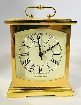 Vintage Howard Miller Gold Brass Desk Shelf Mantel Clock Westminster Chime