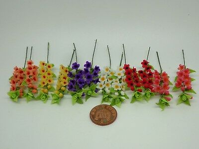 1:12 Scale 2 x Handmade Flowers Dolls House Miniature Flowers , Garden
