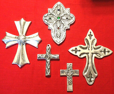 Lot Of 5 Silver Crosses Wall Hanging Religiouse Home Decor Nice Grouping