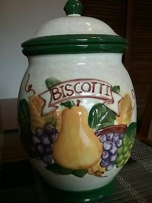 Nonnis Hand Painted Biscotti  Cookie Jar / Fruit Design