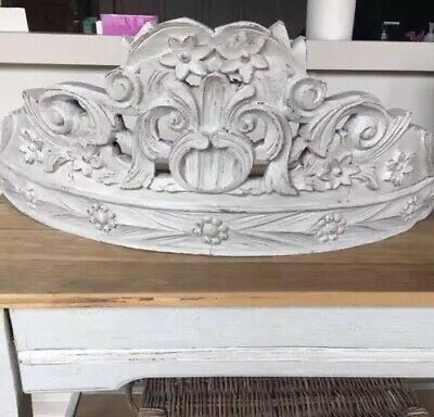 VINTAGE FRENCH Hand Carved Wooden Teester/Bed Crown,Weathered Chalk Gray,c.1930s