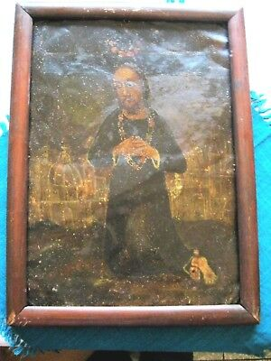 Original Antique Retablo On Tin , Jesus  Knneling And His Church In The Backgrou