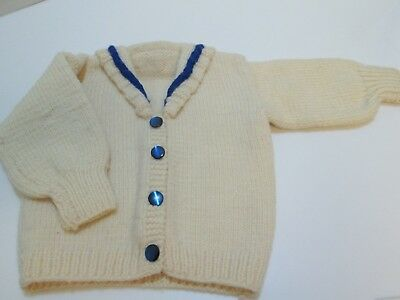 Sweet! 1950's HAND-KNIT Infant SWEATER Wool Buttoned Sailor Cardigan Childs Vtg