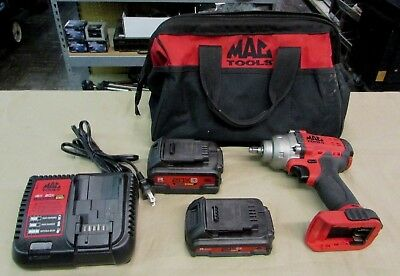 "Mac Tools 3/8"" Drive 20V Lithium Ion Cordless Impact Wrench BWP138 w/2 Batts"