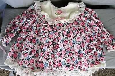 Cute Pink & Blue Rose Floral Baby Blouse Dress 12-18 Months