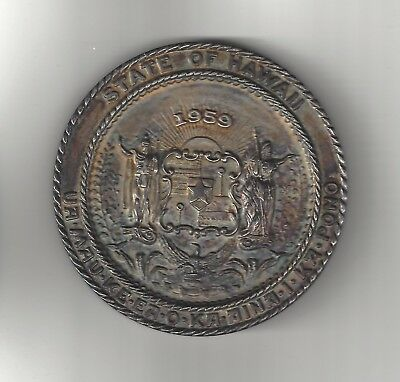 U.S 1959 State of Hawaii  Commemorating the 50th State Bronze Medal Aug 21, 1959