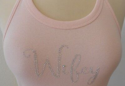 NWT~Betsy Johnson Women's WIFEY BLING Tank Top PINK Lace Night Shirt~SMALL