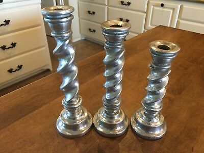 Set of 3 - Aluminum Pewter Silver-tone Barley Twist Candlesticks Candle Holders
