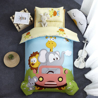 New Baby Animals Boy Girl Crib Cot Set Quilt Cover Padded Cotton Nursery Cartoon