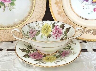 Vintage Paragon England Fine Bone China 'autumn Glory'soup Bowl&  Saucer C1940's