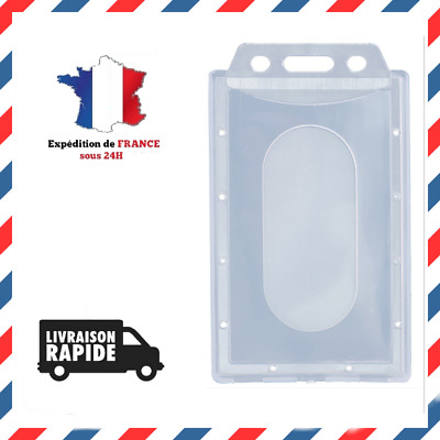 Porte Badge Carte Format Vertical Plastique Rigide Support Etui Card