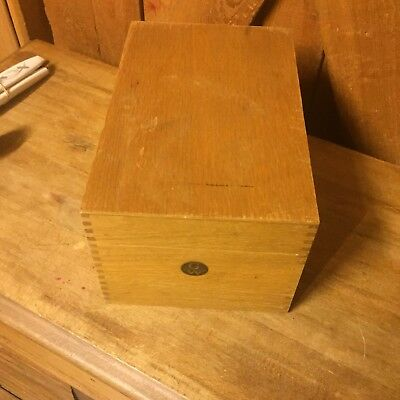 Vintage Globe Wernick File Box Antique Wood Wooden Metal Bottom