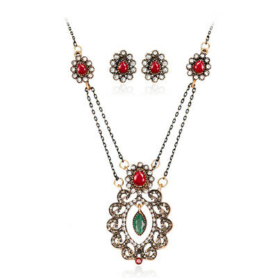 Women New Fashion Wedding Party Crystal Resin Necklace Earrings Jewelry Set 518