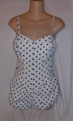 Vintage 1940's Polka Dot Hourglass Maillot Women's Swimsuit S/m Made In Usa L@@k