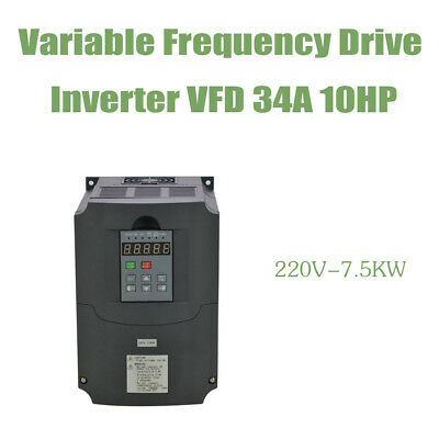 Vfd Variable Frequency Drive Inverter 10Hp 34A 7.5Kw 220V