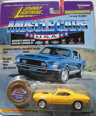 Johnny Lightning Muscle Cars USA Yellow 1970 Dodge Challenger Series 4 Worn Card