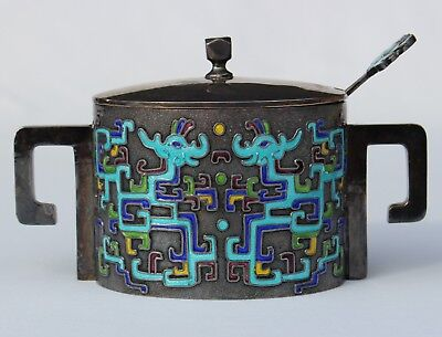Vintage Korean Pure Silver Cloisonne Enamel Condiment Covered Bowl Spoon DRAGON