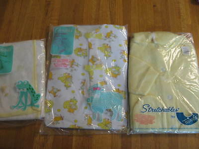 1970s new old stock sealed baby clothes infant gown, towel and stretch suit