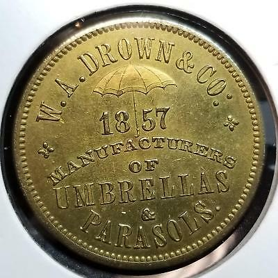 WA Brown and Co 1857 Umbrella Manufacturer Copper Token GEM UNC 621-11