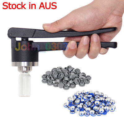 20mm FLIP-OFF Seal Vial Crimper Crimping Machine Tool +100 Caps Rubber Stoppers