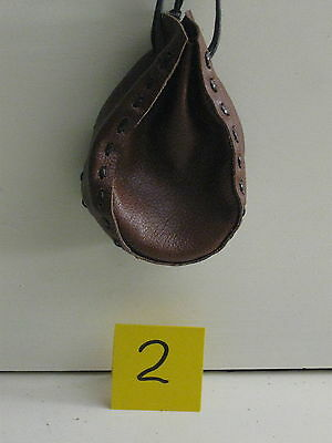Sgb-02 Small Brown Leather Drawstring Bag Or Purse Free Shipping Within Usa