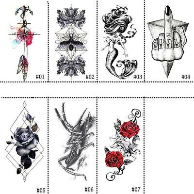 Large Rose Flower Temporary Tattoos Stickers Body Art 3D Rose Tatoo Waterproof~