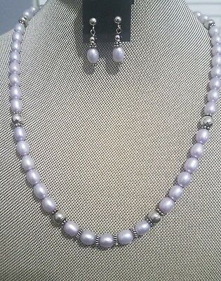 Sterling Silver Oval Lavender Freshwater Pearl Necklace and Earrings set