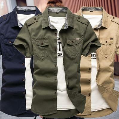 New Summer Men's Army Cotton Military Uniform Short Sleeve Casual Work Shirts
