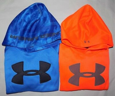 Nwt Under Armour Kids Boys' Hoodies, Color: Mako Blue, Magma Orange, Size: 4