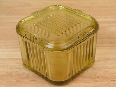 Antique Amber Glass Covered Dish Square Ribbed  R